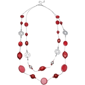 jules b Red Shell 2 Row Long Illusion Necklace