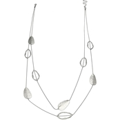 Jules b. Silver Tone 2-Row Skip Chain Long Necklace