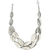 Jules b. Silver Tone 2-Row Hammered Metal Short Necklace