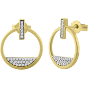 10K Yellow Gold Over Sterling Silver 1/6 CTW Diamond Circle Earrings
