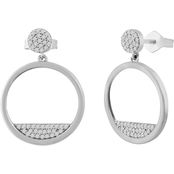 Sterling Silver 1/4 CTW Diamond Circle Drop Post Earrings