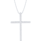 Love Honor Cherish 10K White Gold 1/2 CTW Diamond Classic Cross Pendant