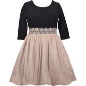 Bonnie Jean Little Girls Glitter Knit/Pleated Dress