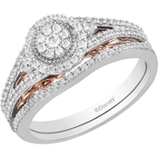 DISNEY ENCHANTED 10K WHITE & PINK GOLD 1/2CTW DIAMOND BELLE BRIDAL SET