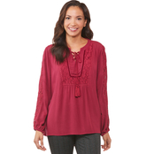 Passports High Low Lace Up Top