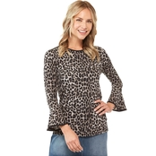 Michael Kors Petite Cheetah Flutter Sleeve Top