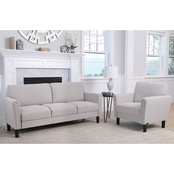 Abbyson Rayleigh Fabric Sofa and Armchair Set, Beige