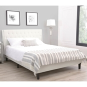 Abbyson Natalie Ivory Tufted Upholsted Platform Bed, Queen
