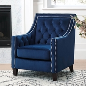 Abbyson Victoria Nailhead Tufted Accent Chair, Black