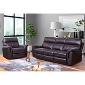 Abbyson Wakefield Top Grain Brown Leather Sofa and Armchair Recliner 2 pc. Set