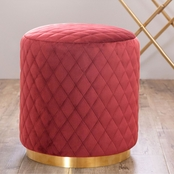 Abbyson Roxie Quilted Velvet Ottoman