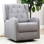 Abbyson Evonne Tufted Fabric Swivel Recliner