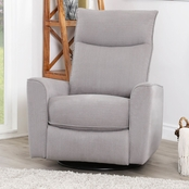 Abbyson Kinsley Fabric Swivel Recliner, Charcoal
