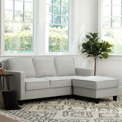 Abbyson Kenzie Fabric Sofa and Ottoman Set, Beige