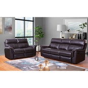 Abbyson Wakefield Top Grain Leather Sofa and Loveseat Recliner 2 pc. Set