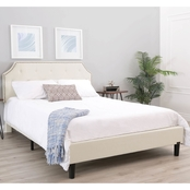 Abbyson Eliza Ivory Tufted Upholstered Bed