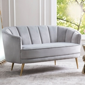 Abbyson Laurel Channel Tufted Velvet Sofa