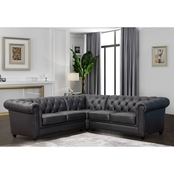 Abbyson Kingston Chesterfield Sectional, Brown