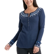 Lucky Brand Embroidered Necklace Thermal Top