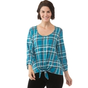 Passports Tie Front Twill Plaid Shirt
