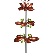 Kinetic Garden Stake w.3 Metallic Floral Bronze Spinners