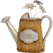 13 in. Wood Look Watering Can with Silver Flowers