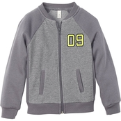 Toddler Boys Charcoal Heather Textured Jacket with Number