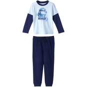 Toddler Boys 2 pc Blue Jersey 2Fer Hangdown with Fleece Pant Set