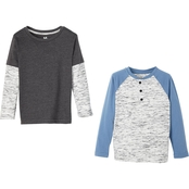 Toddler Boys 2 Pack Black Long Sleeve Henley and Charcoal 2Fer