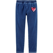 OshKosh B'gosh Little Girls Knit Denim Leggings