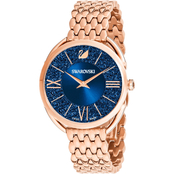 Swarovski Crystalline Glam Watch, Metal Bracelet, Blue, Rose Gold Tone PVD