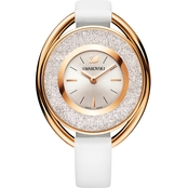 Swarovski Crystalline Oval Watch, Leather Strap, White, Rose Gold Tone