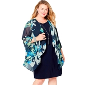 Avenue Plus Size Bell Sleeve Navy Floral Jacket Dress