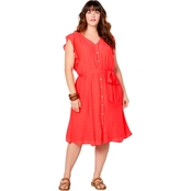 Avenue Plus Size Flutter Sleeve V Neck Dress