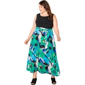 Avenue Plus Size Floral Skirt Maxi Dress