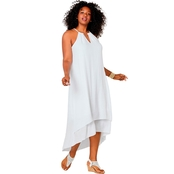 Avenue Plus Size Halter Neck White Gauze High-Low Dress