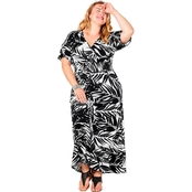 Avenue Plus Size Tropical Print Surplice Neckline Maxi Dress