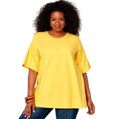 Avenue Plus Size Smocked Sleeve Top
