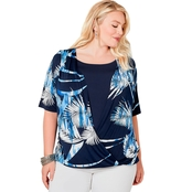 Avenue Plus Size Tropical Leaf Mock Layered Surplice Top