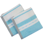 1888 Mills Freshee Wash Cloths Bath Set Aqua Stripe 2 pk.