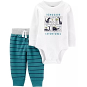 Carter's Infant Boys Green Dino 2 pc. Bodysuit and Pants Set