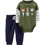 Carter's Infant Boys Green Animals Bodysuit Pants 2 pc. Set