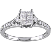 1/2 CT TW Diamond Cluster Engagement Ring in 10k White Gold