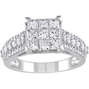 1 1/2 CT TW Diamond Princess-cut Engagement Ring in 10k White Gold