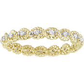 1/6 CT TW Diamond Infinity Eternity Ring in 10k Yellow Gold