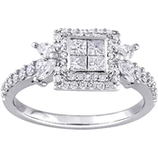 14K White Gold 1 CTW Diamond Quad Halo Engagement Ring