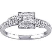1/4 CT TW Diamond Halo Quad Engagement Ring in 10k White Gold