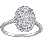1 CT TW Diamond Oval Shape Engagement Ring in 10k White Gold