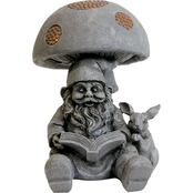 Gnome Reading Book Under Mushroom with Copper Accents Statue 10 in.