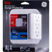 GE 5 Outlet 2 USB Swivel Surge Protector Wall Tap